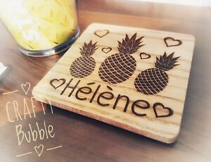Personalised hand made laser engraved pineapple coaster