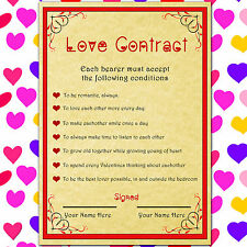 CUSTOMISABLE VALENTINES LOVE CONTRACT UNIQUE GIFT TO GIVE YOUR MAN OR WOMAN