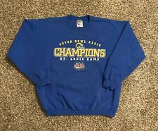VTG St. Louis Rams Mens Crewneck Sweatshirt XL Blue Gold Champions 2000
