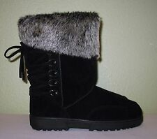 WOMENS BLACK FAUX FUR SUEDE RAMPAGE CORSET WINTER BOOTS NEW US 11 EUR 41 41.5 42