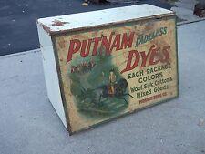 Vintage Putnam Dyes Tin & Wood Cabinet Store Display Case, MONROE DRUG CO.