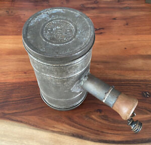 Vintage Kitchen Tin Flour Sifter Repath-Carver Co. REP Los Angeles,CA - Repaired