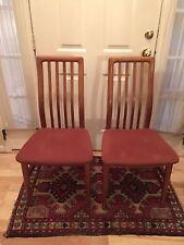 Vintage Mid Century Danish Dining Chairs Pair Teak High Slat Back SVA Mobler