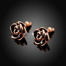 Classic 18K Rose Gold Filled Black Oil Drip Flower Stud Earrings Jewelry