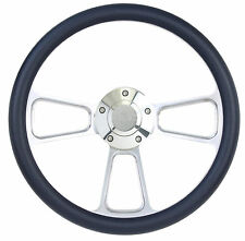 "GMC 14"" Billet Steering Wheel with Black Half Wrap, Laser-Engraved GMC Horn"