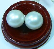 2 Grande Original Redondas Blancas Agua Salada SUR Mar Perlas 12mm Precioso par