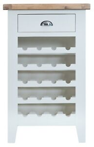 CANTERBURY WHITE PAINTED SMALL WINE CABINET / WHITE WINE RACK / HOLDS 20 BOTTLES
