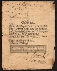 SWEDEN 8 SCHILLINGAR BANCO of 1849 P # A101 LAST YEAR of ISSUE & BOURSE OPENS