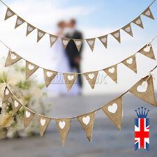 Vintage Shabby Hessian Burlap Banner Rustic Xmas Wedding Bunting Party Decor UK