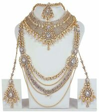 3121 Indian Bollywood Fashion Earrings Gold Plated Bridal Jewelry Necklace