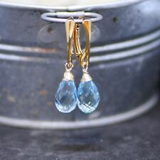 Natural Sky Blue Topaz Earrings Wire Wrapped Yellow Gold on European Lever Backs