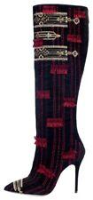 New Oscar de la Renta $2,790 Embroidered Suede Epresi Knee High Boot, 39EU/8.5US