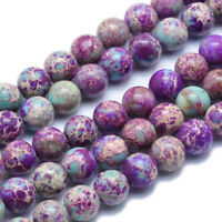5 Strands Natural Regalite Imperial Jasper Sea Sediment Bead Dyed Round Blue 8mm