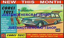Corgi Toys 440 Ford Consul Cortina Estate Poster Advert Display Sign Leaflet
