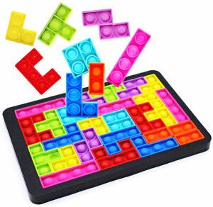 Pop Popper it Game Chess Board Fidget Toys, Jigsaw Pop Push Bubble Sensory Toys