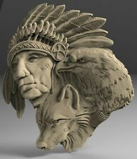 STL 3D Models # Hunter WOLF EAGLE # for CNC Aspire Artcam 3D Printer