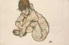 Egon Schiele Crouching Nude Girl 12x8 inch Print