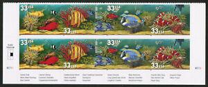 US USA Sc# 3320b MNH FVF PLATE# BLOCK Aquarium Fish Shrimp Anenome Seastar