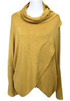 Kay Celine Womens L Top Shirt Yellow Gold Long Sleeve Cowl Drape