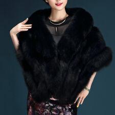 Women Faux Fur Party Coat Warm Long Shawl Wrap Shrug Scarf Vest Tops Cocktail D6