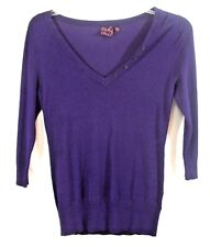 Takeout Knit Sweater Top Purple Size L 3/4 Length Sleeves