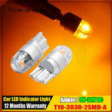 2Pcs Amber Yellow T10 W5W 2825 2 SMD 3030 LED Bulbs For Car Parking Light 9V-30V