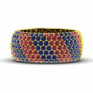 1.32 Ct Natural Blue Sapphire & Ruby Band 14K Solid Yellow Gold Size L M N O P Q
