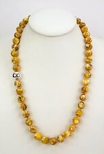 """Simon Sebbag Sterling Silver 24"""" Yellow Mosaic Shell Beads Necklace NB109/YMS24"""