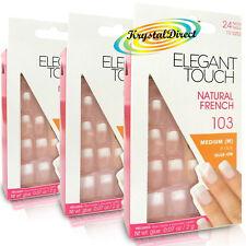 3x Toque Elegante Francés Manicura 103 medio rosado pegamento en Uñas Postizas Falsas