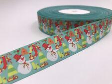 DIY 5 Yard 1'' 25mm Gift snowman Printed Grosgrain Ribbon Hair Bow Sewing Ribbon