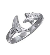 925 Sterling Silver White Clear Cz Stone Moon Star Toe Ring