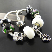 CHARM BRACELET CUFF BANGLE GENUINE 925 STERLING SILVER S/F SOLID ONYX DESIGN