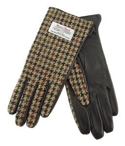 Damen Authentisch Harris Tweed & Leder Handschuhe Braunes Hundezahn LB3001 COL27