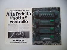 advertising Pubblicità 1980 AUTORADIO VOXSON
