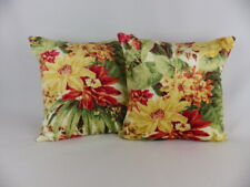 Zoffany Floral Velvet Fabric 2 Cushion Covers Scatter Pillow Red Yellow Green