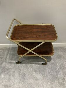 Gold Retro Vintage Tea Drinks 2 Tier Hostess Trolley Foldable