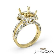 1.53 Carat Diamond 18k Yellow Gold Engagement Halo Ring Cushion Shape Semi Mount