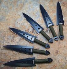 "6pc 6"" Stainless Black Kunai Throwing Knives Set with Sheath"