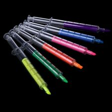 6pcs Novelty Syringe Highlighter Pen Marker Needle Tube Writer Pens Stationery