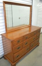 Ethan Allen Heirloom Dresser Mirror Vintage 8 Drawer Maple 10 5303 211 Nutmeg