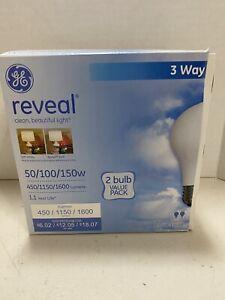 GE Reveal Soft White 3-Way 50/100/150 Watt A21 Bulb 2 Pack Lot of 3