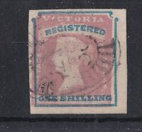 V253) Victoria 1854 (1/-) Registered Rose pink & blue SG 34, four margins