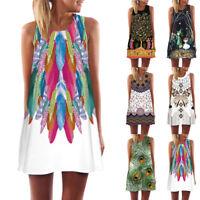 Women Summer Beach Charm Floral Sleeveless Party Dress Casual Loose Mini Dresses