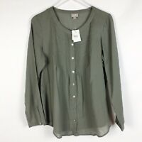 J Jill Washed Pine Green Embroidered Long Sleeve Top Size M Medium NWT