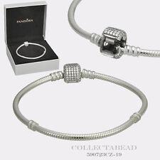 "Authentic Pandora Silver Bracelet Signature Lock 7.5"" Hinged Box 590723CZ-19"