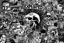 """EXPLOITED """"BLACK & WHITE COLLAGE"""" POSTER FROM ASIA- Street / Hardcore Punk Music"""