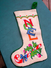 """""""NOEL"""" Embroidery Xmas Stocking- Wool Front,Felt Back, No Lining -Home Crafted"""