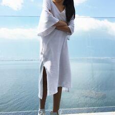 Lady Long Casual White V Neck T-shirt Split Short Sleeve Beach Tops Shirts Dress