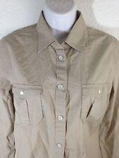 Women's J.Crew Sand Color Button Down Shirt Size S Double Front Pockets EUC!