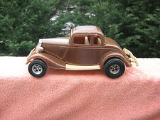 """Tootsie Toy Plastic 1934 Ford Victoria~Brown~By Durant Plastics~11 1/4"""" Length"""